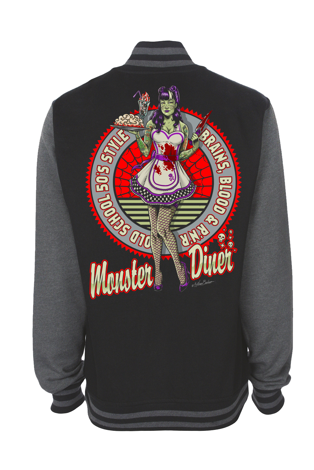 MONSTER DINER VARSITY JACKET UNISEX BY NANO BARBERO