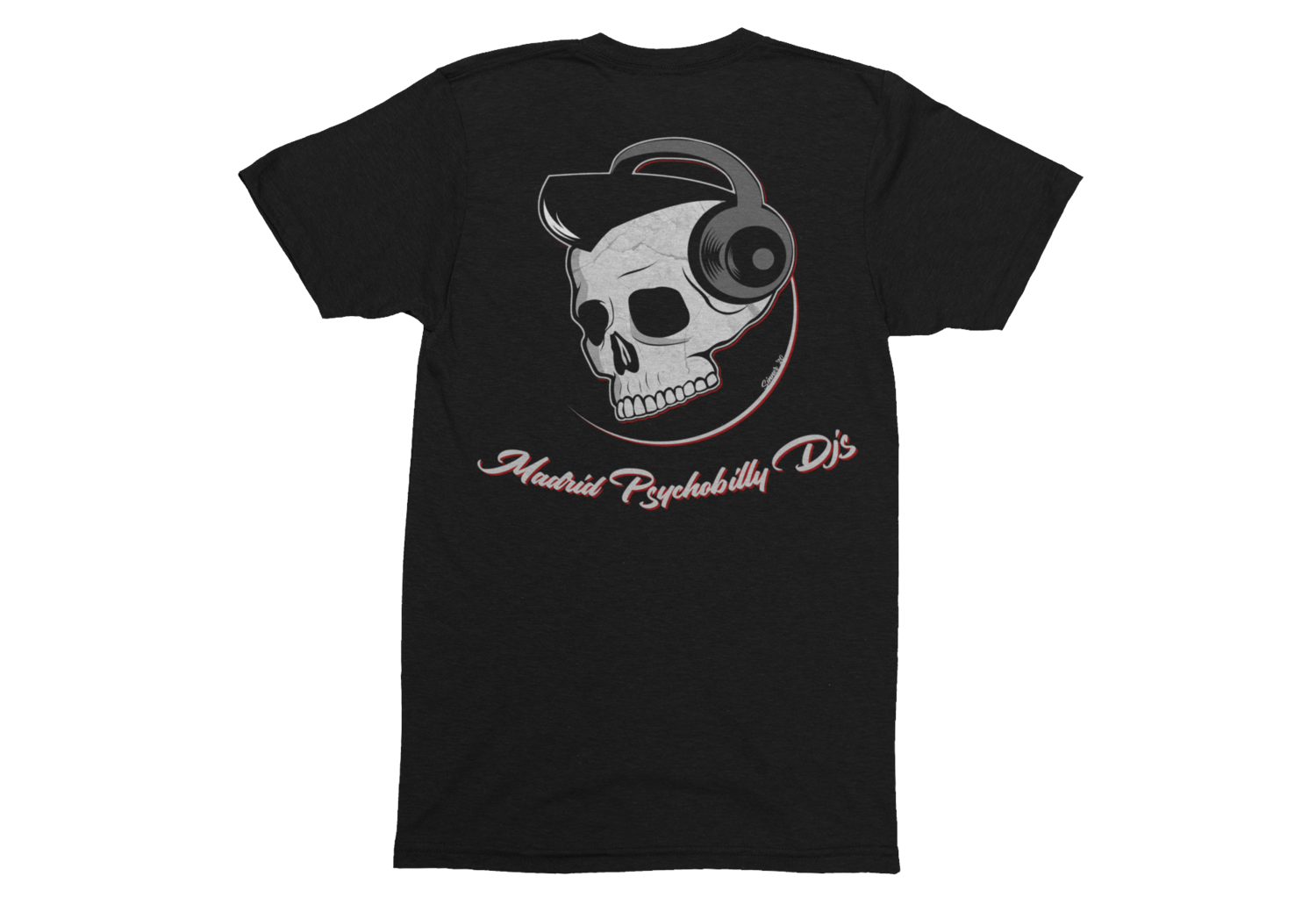 "PSYCHO REBEL & SINNER A GO-GO DJ ""Madrid Psychobilly DJS"" T-SHIRT MAN"
