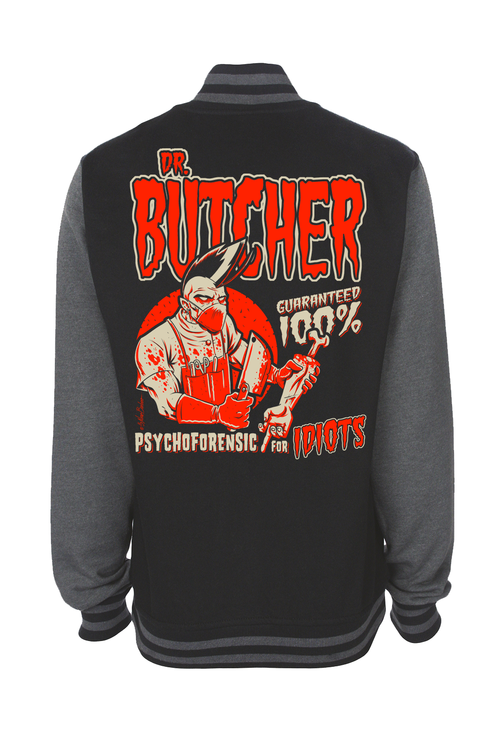 DR. BUTCHER VARSITY JACKET UNISEX BY NANO BARBERO