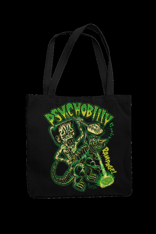 PSYCHOBILLY RAMPAGE Cotton Bag  logo design SOL RAC
