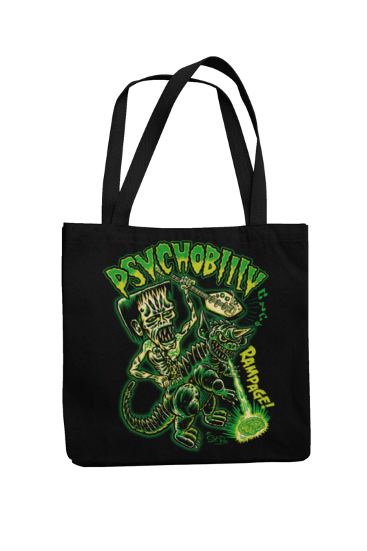 PSYCHOBILLY RAMPAGE Cotton Bag  logo design SOL RAC