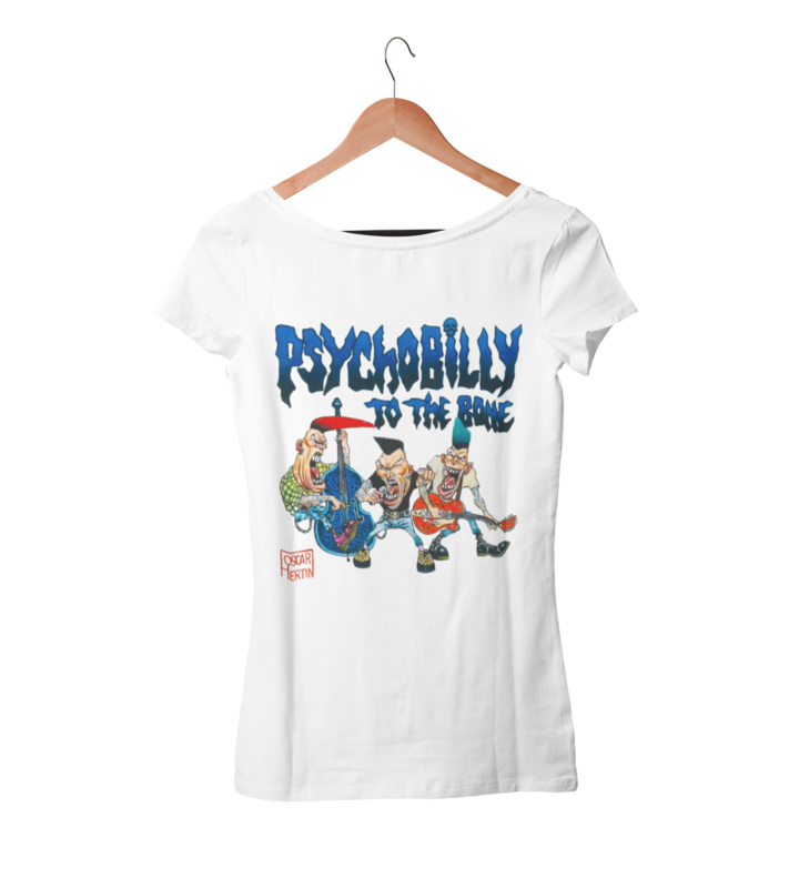 PSYCHOBILLY TO THE BONE T-SHIRT WOMAN by Oscar Hertin