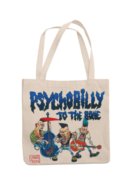 PSYCHOBILLY TO THE BONE Cotton Bag  logo design OSCAR HERTIN