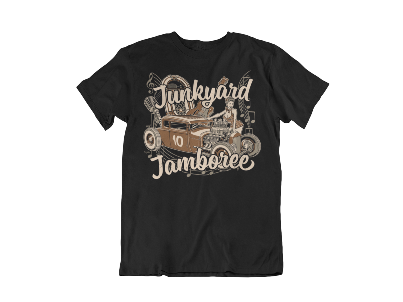 "JUNKYARD JAMBOREE HOT ROD T-SHIRT MAN BY Ger ""Dutch Courage"" Peters artwork"