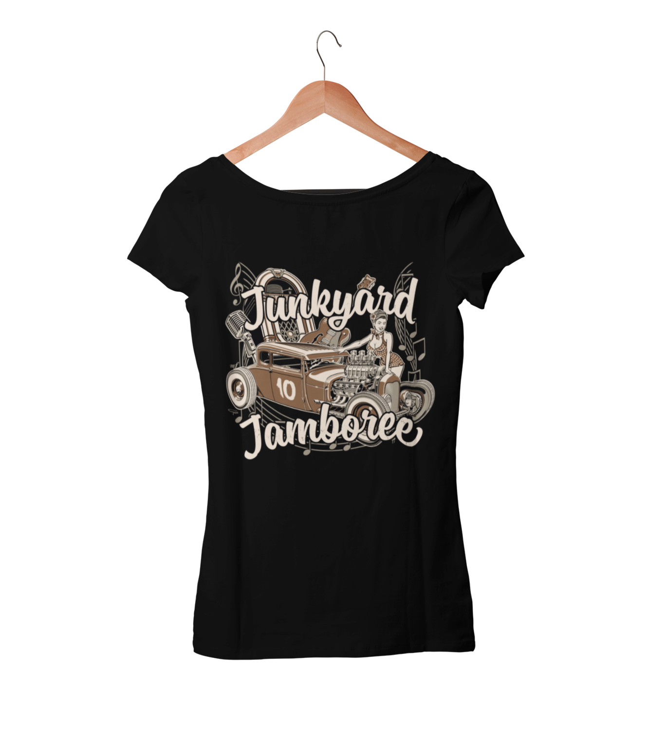 "JUNKYARD JAMBOREE HOT ROD T-SHIRT WOMAN by Ger ""Dutch Courage"" Peters artwork"