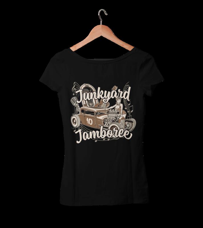 "JUNKYARD JAMBOREE HOT ROD T-SHIRT WOMAN by Ger ""Dutch Courage"" Peters artwork"