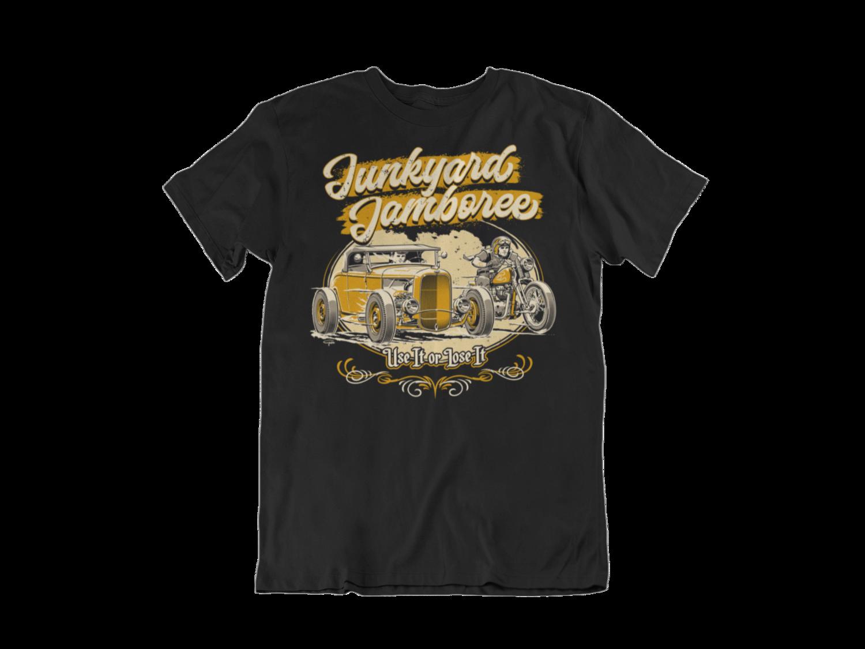 "JUNKYARD JAMBOREE ROADSTER & BOBBER T-SHIRT MAN BY Ger ""Dutch Courage"" Peters artwork"