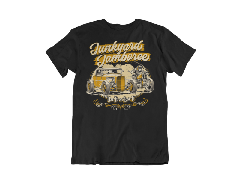 "JUNKYARD JAMBOREE ROADSTER & BOBBER T-SHIRT MAN BY Ger ""Dutch Courage"" Peters artwork"