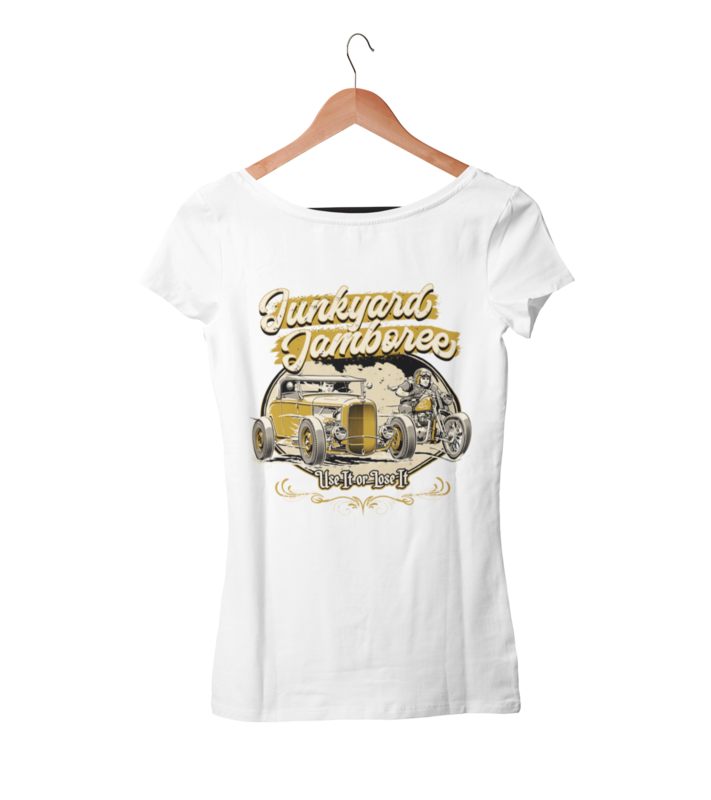 "JUNKYARD JAMBOREE ROADSTER & BOBBER T-SHIRT WOMAN by Ger ""Dutch Courage"" Peters artwork"