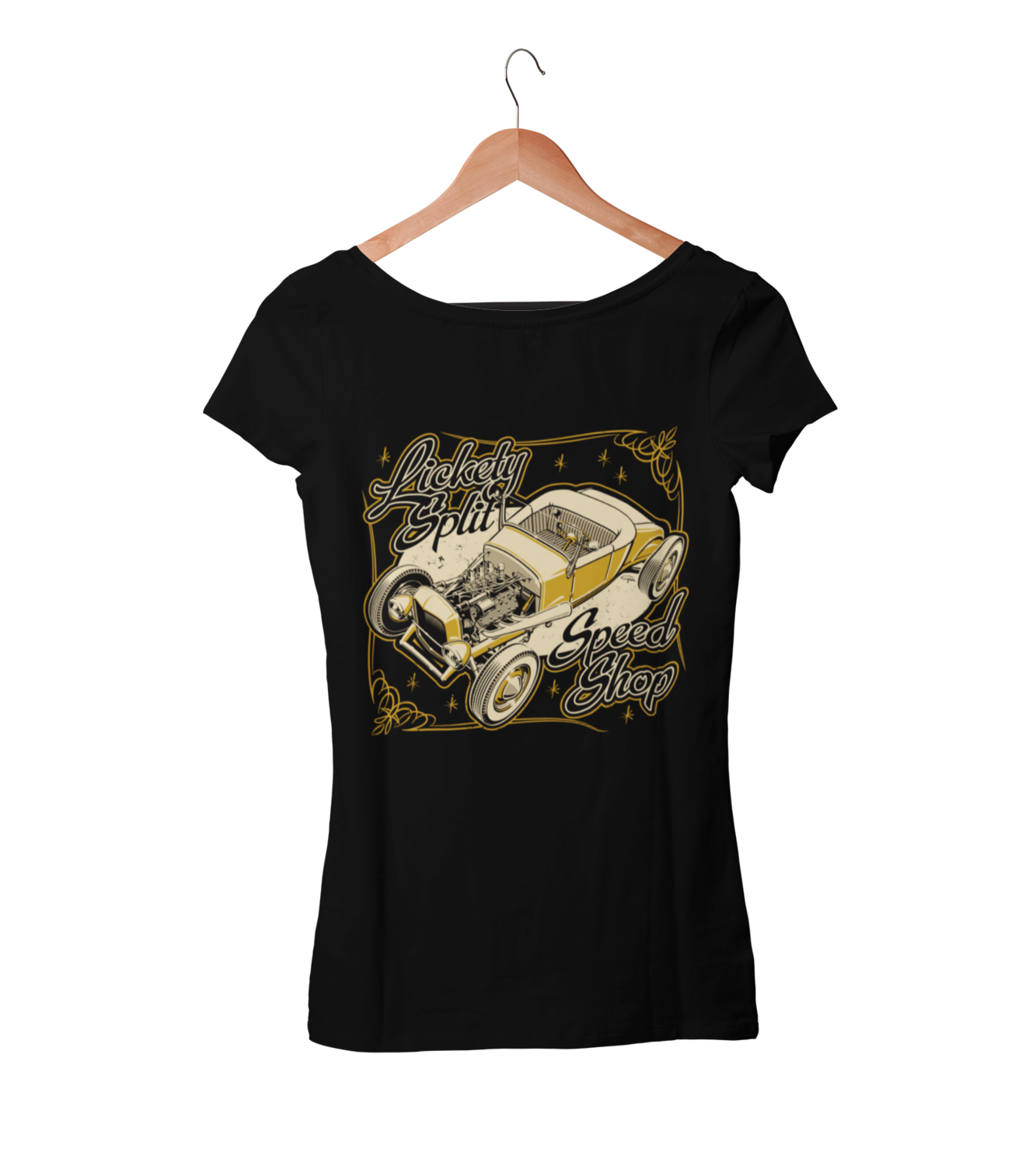 "LICKETY SPLIT SPEEDSHOP T-SHIRT WOMAN by Ger ""Dutch Courage"" Peters artwork"