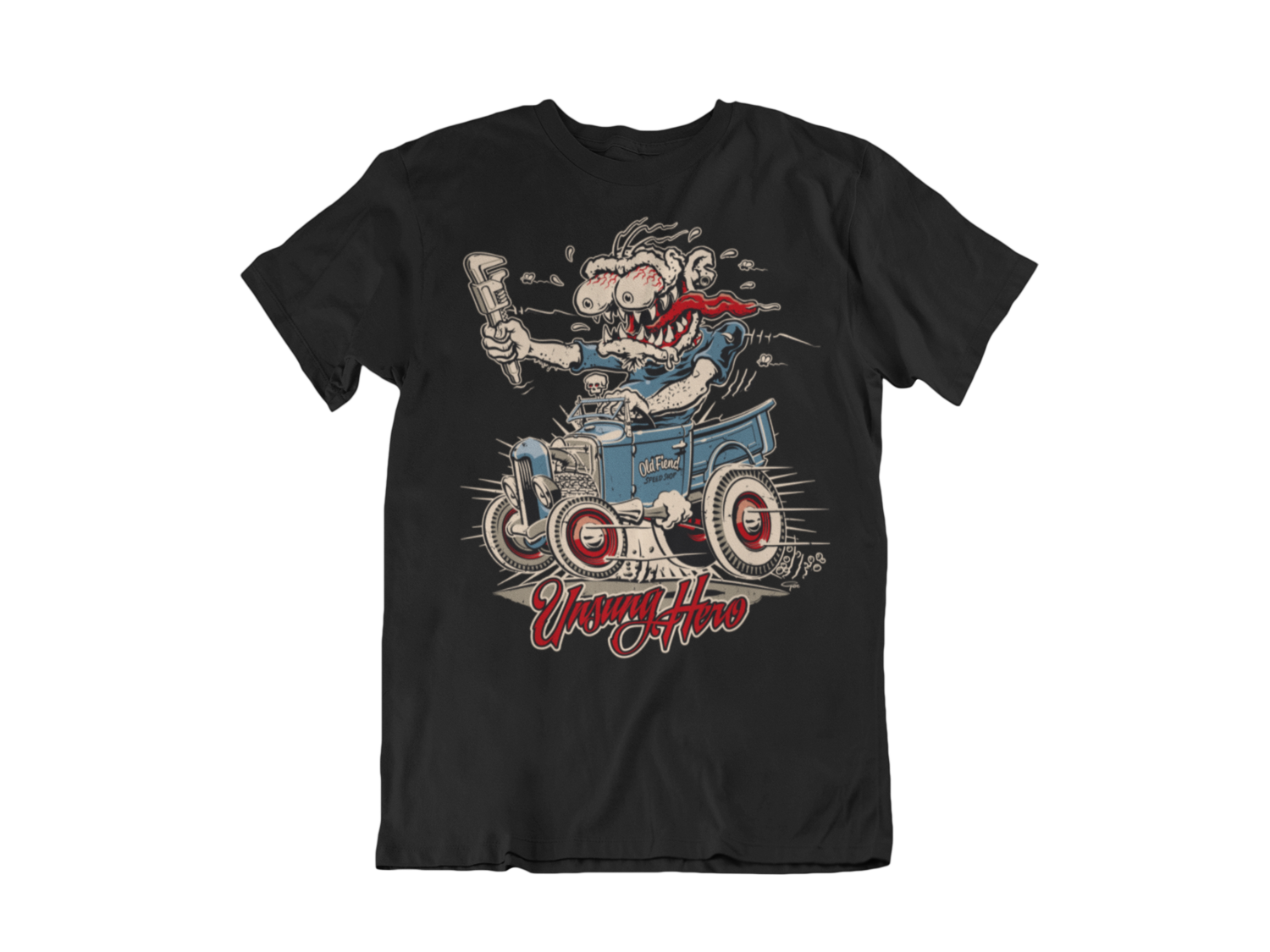 "OLD FIEND MONKEY WRENCH T-SHIRT MAN BY Ger ""Dutch Courage"" Peters artwork"