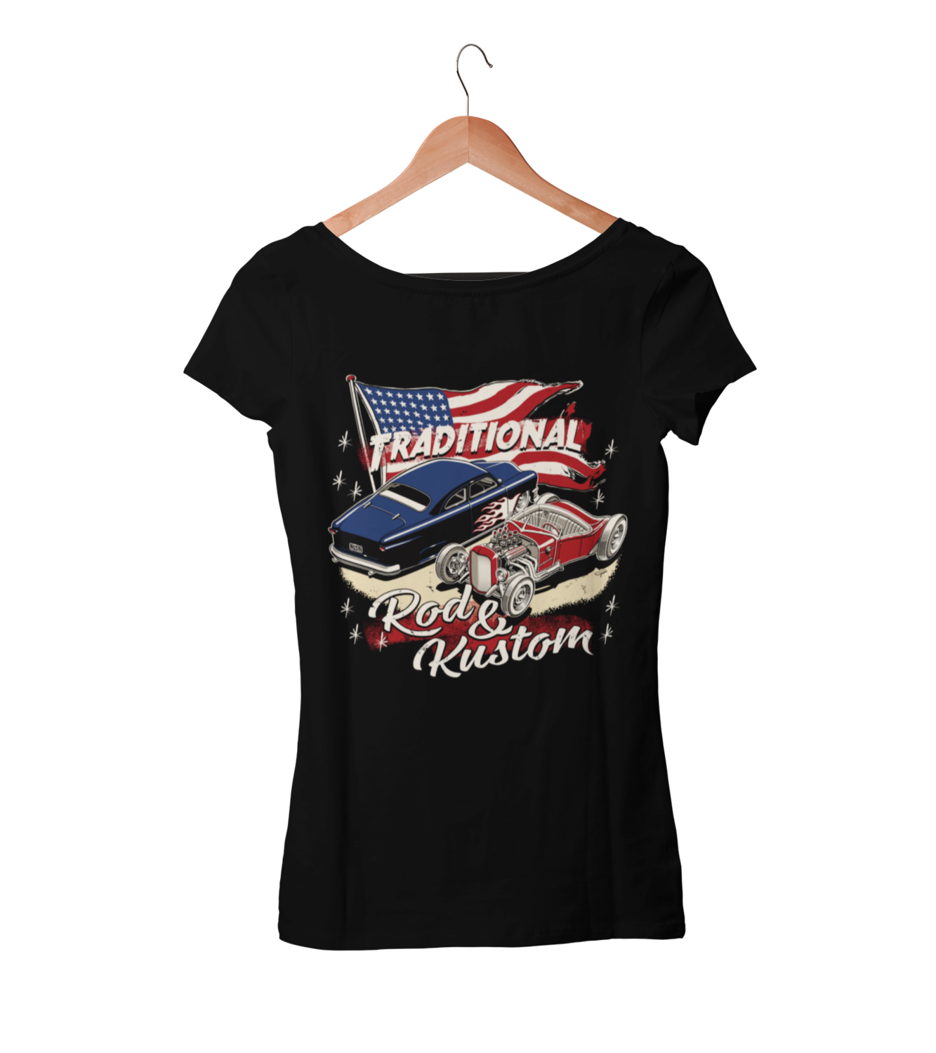"""TRADITIONAL ROD & KUSTOM T-SHIRT WOMAN by Ger """"Dutch Courage"""" Peters artwork"""