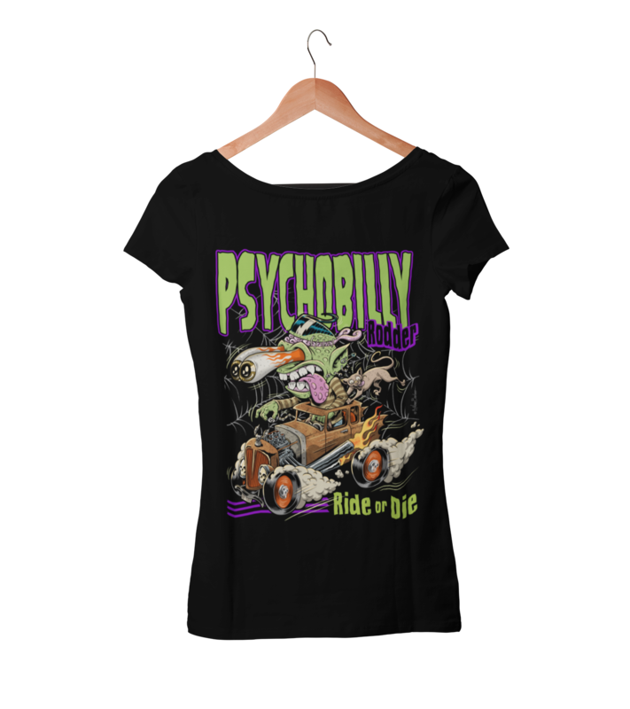 PSYCHOBILLY RODDER T-SHIRT WOMAN by NANO BARBERO