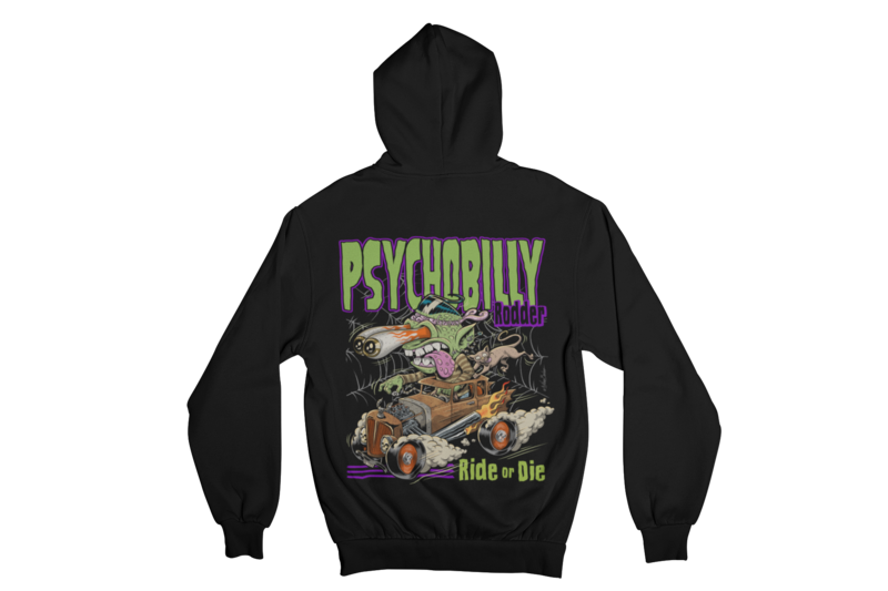 PSYCHOBILLY RODDER HOODIE ZIP for WOMEN by NANO BARBERO
