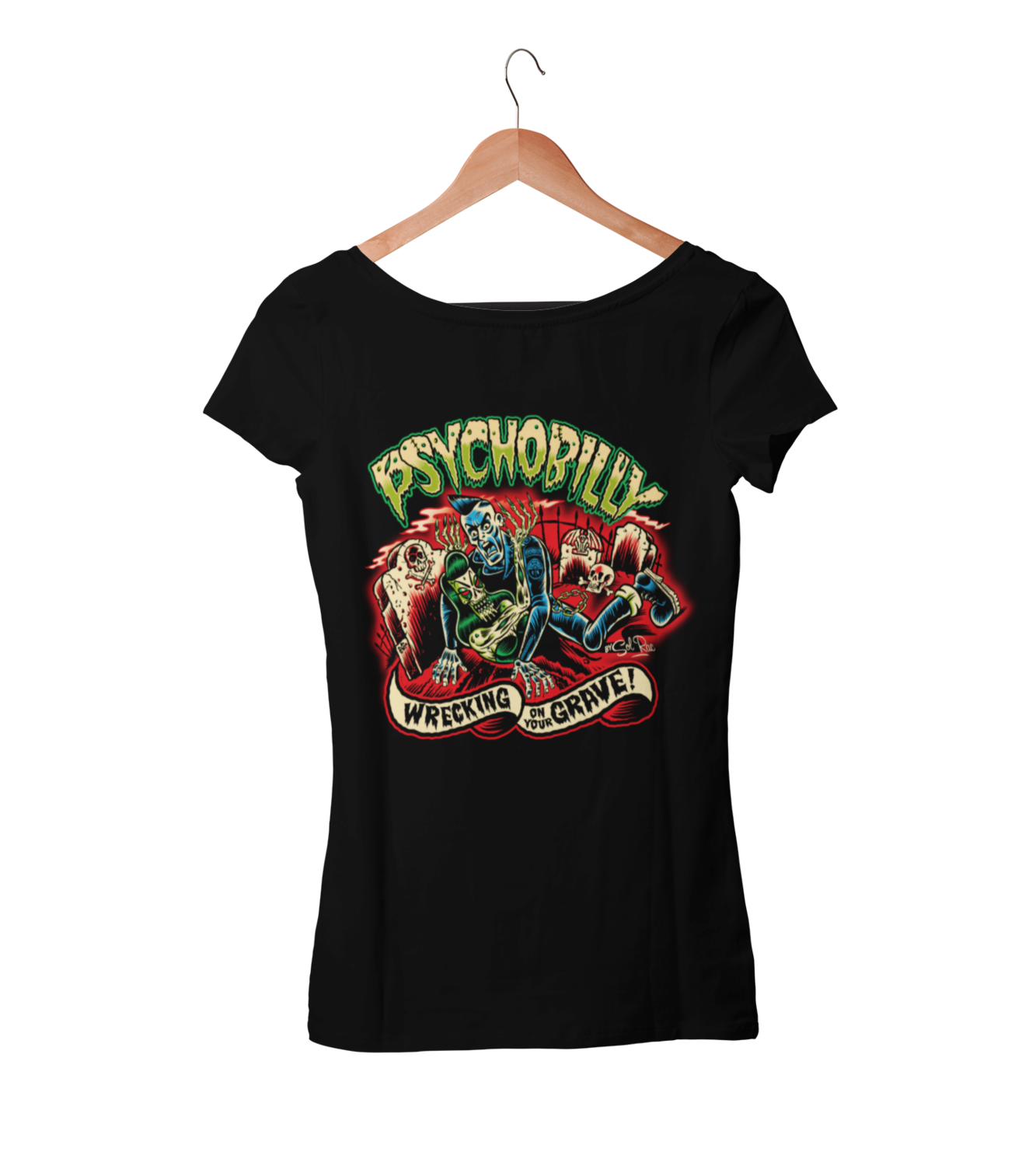 PSYCHOBILLY WRECKING ON YOUR GRAVE T-SHIRT WOMAN BY SOL RAC