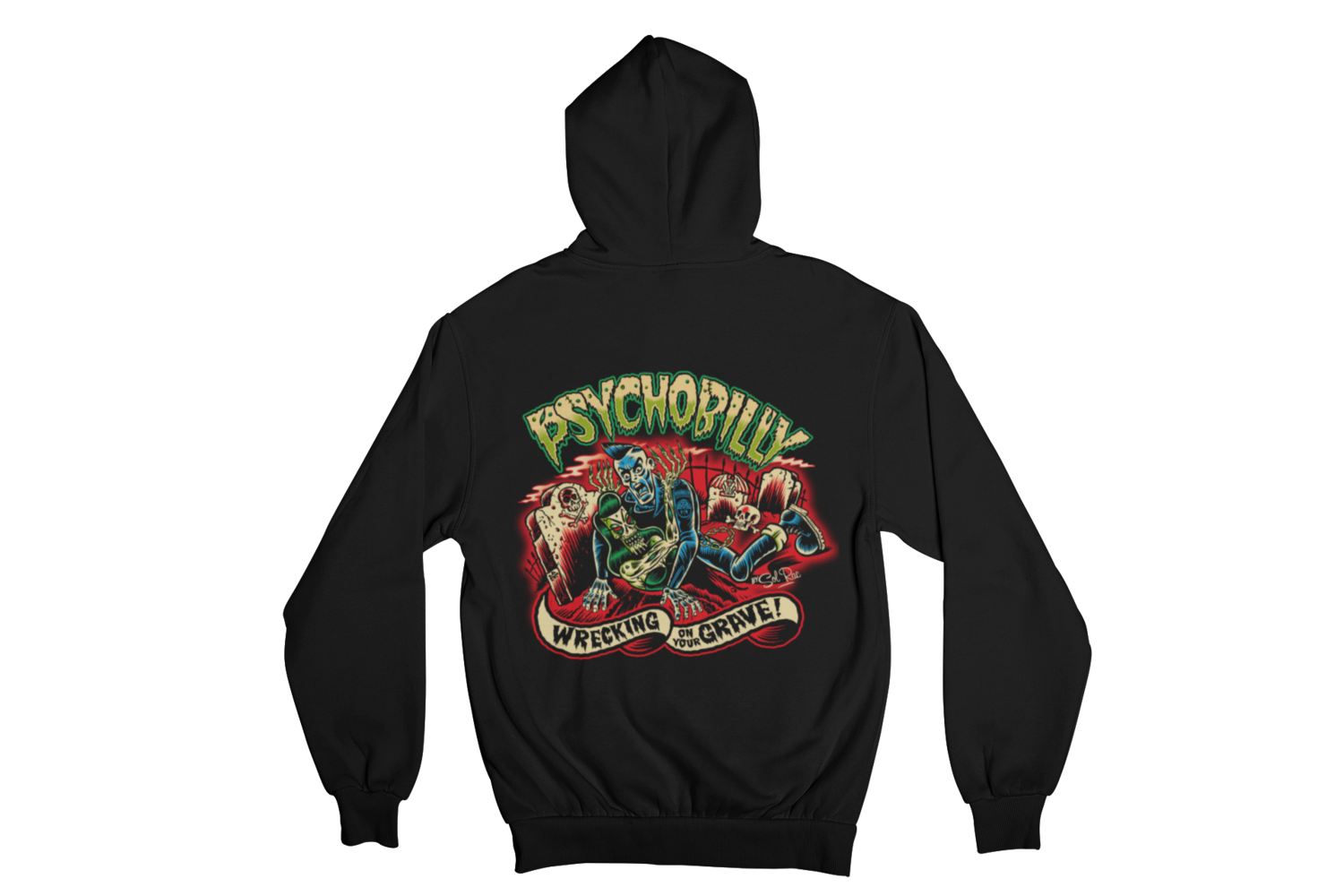 PSYCHOBILLY WRECKING ON YOUR GRAVE HOODIE ZIP for MEN by SOL RAC