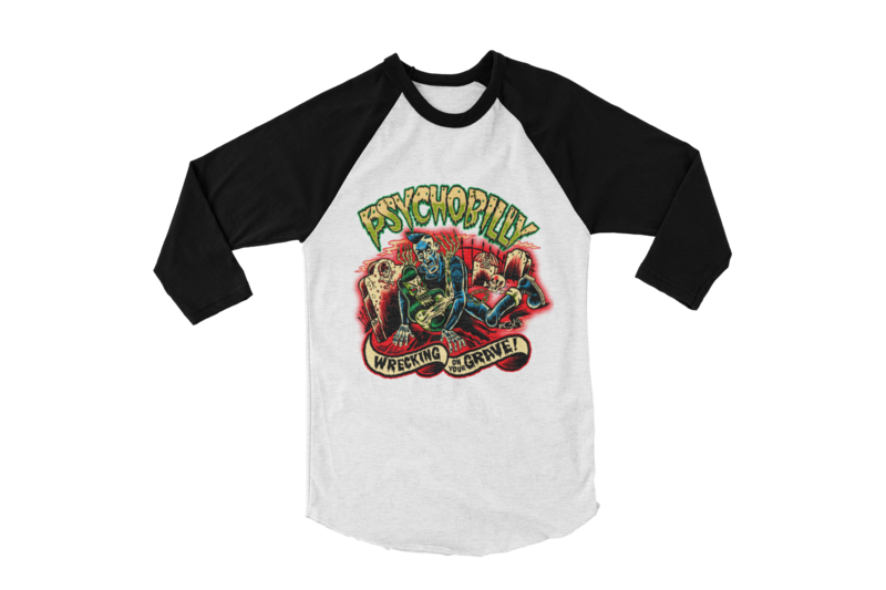 PSYCHOBILLY WRECKING ON YOUR GRAVE BASEBALL LONG SLEEVE By SOL RAC
