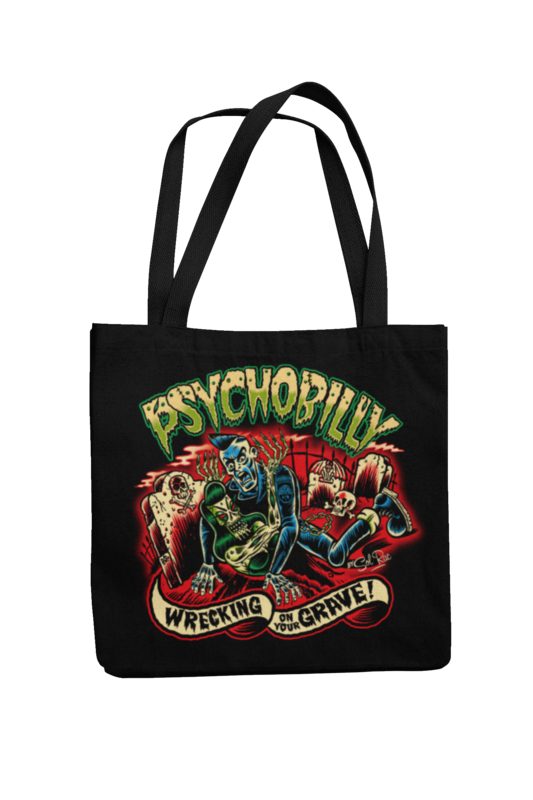PSYCHOBILLY WRECKING ON YOUR GRAVE Cotton Bag  logo design SOL RAC