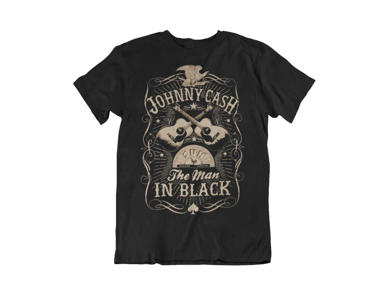 "JOHNNY CASH ""man in black"" T-SHIRT FOR MEN"