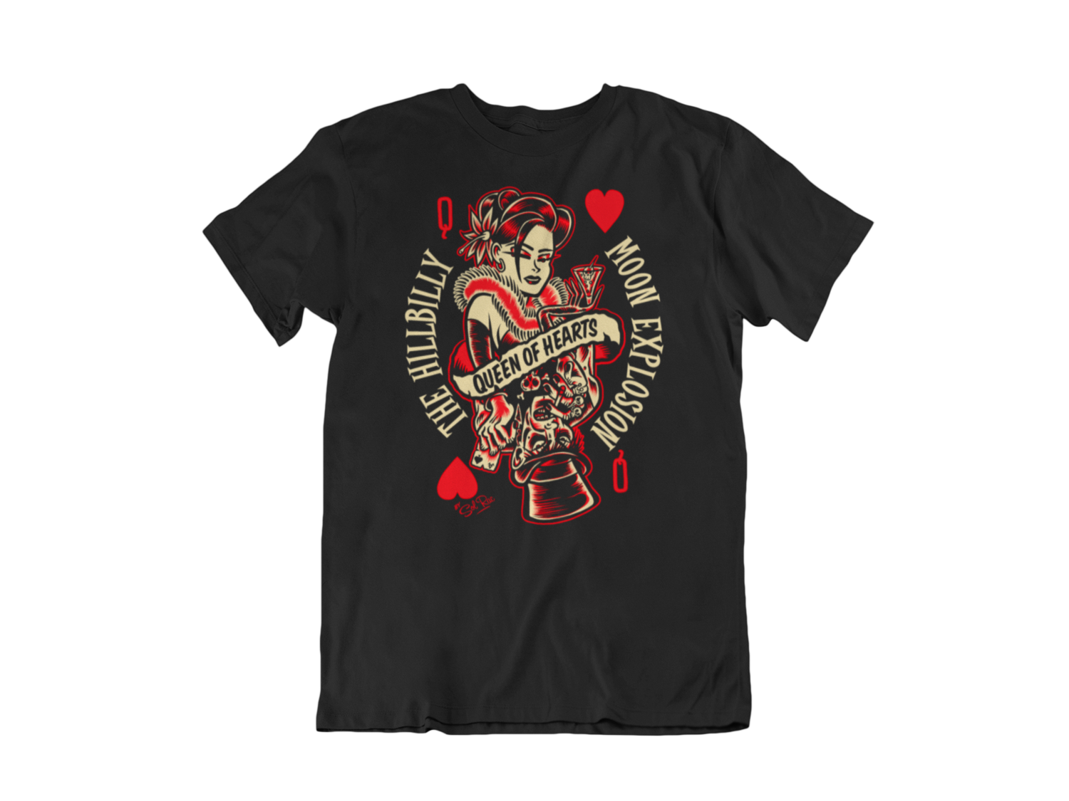 """HILLBILLY MOON EXPLOSION """"Queen of hearts"""" tshirt for MEN by Solrac"""