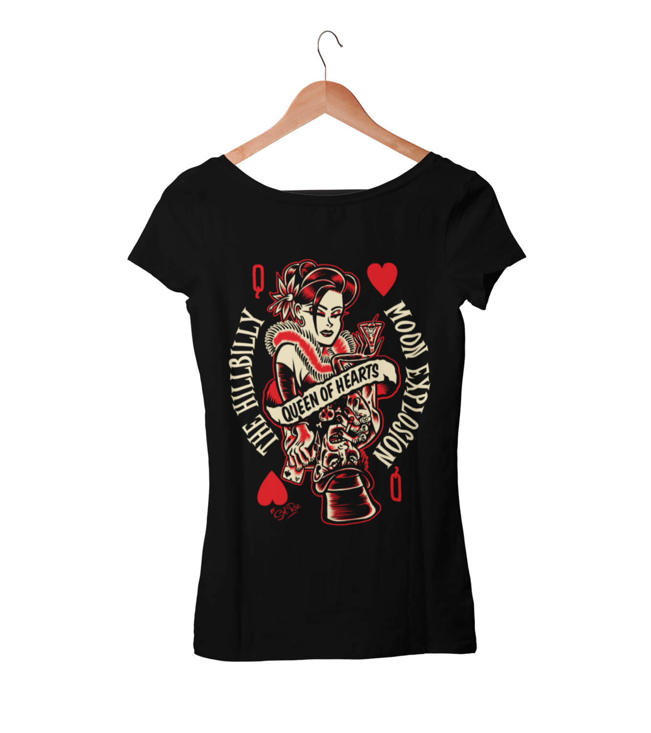 "HILLBILLY MOON EXPLOSION ""Queen of Hearts"" tshirt for WOMEN by Solrac"