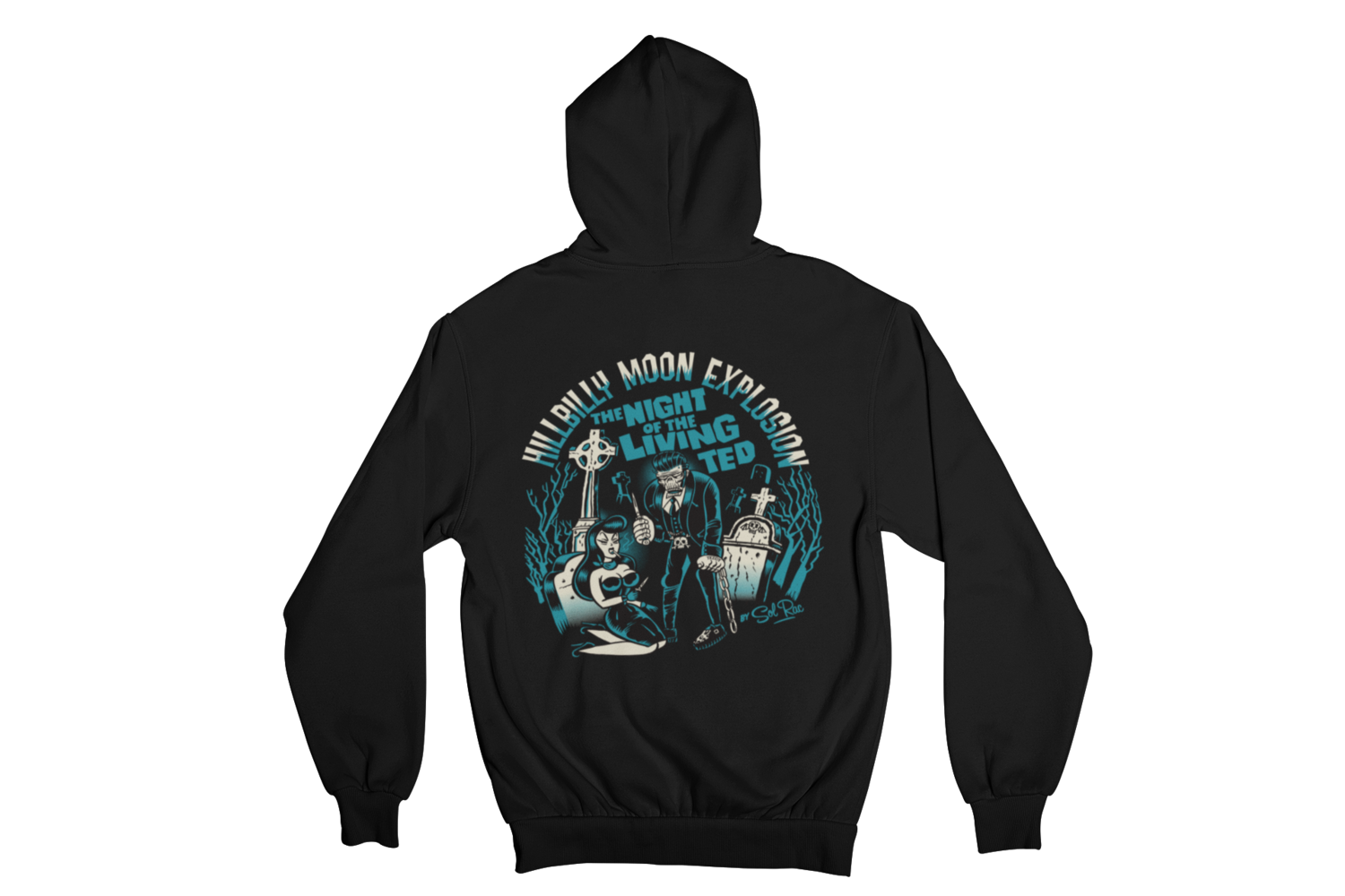 """HILLBILLY MOON EXPLOSION """"Night of the living ted"""" HOODIE ZIP for WOMEN"""