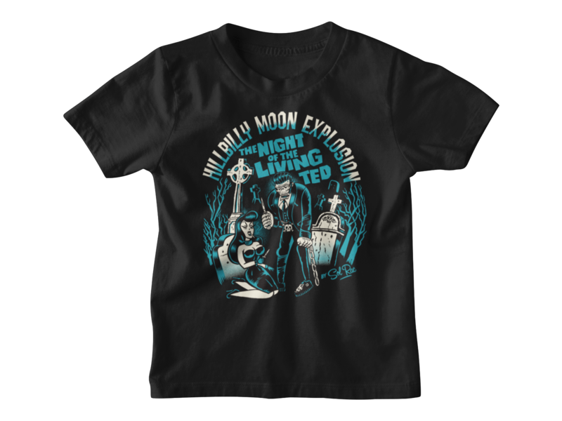 """HILLBILLY MOON EXPLOSION """"Night of the living ted"""" T-SHIRT KIDS"""