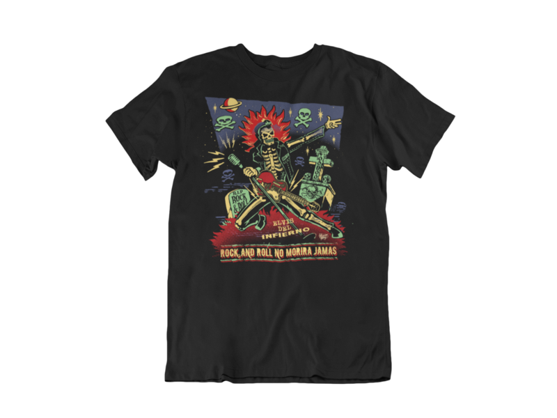 ROCK AND ROLL NO MORIRA JAMAS T-SHIRT MAN by VINCE RAY