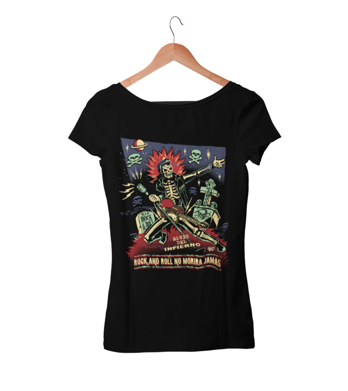 ROCK AND ROLL NO MORIRA JAMAS T-SHIRT WOMAN by VINCE RAY