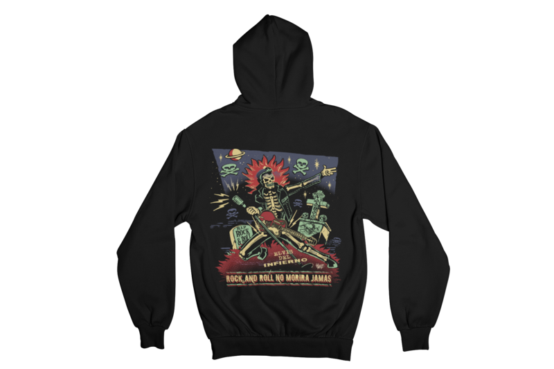 ROCK AND ROLL NO MORIRA JAMAS HOODIE ZIP for MEN by VINCE RAY