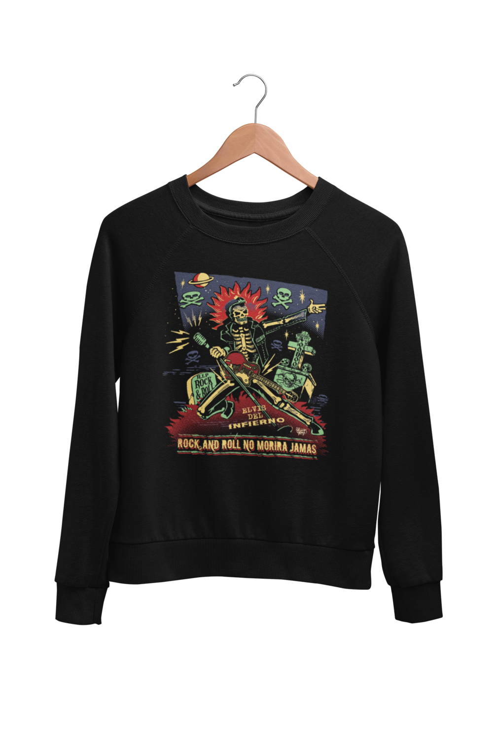 ROCK AND ROLL NO MORIRA JAMAS SWEATSHIRT UNISEX by VINCE RAY