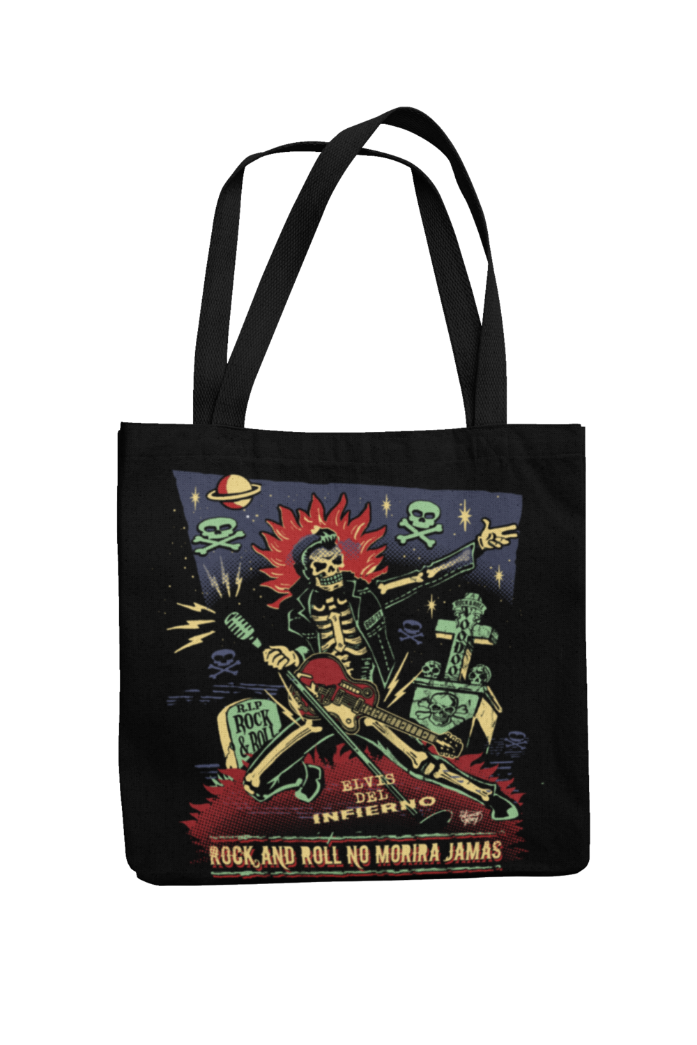 Cotton Bag Rock and roll no morirá jamás design by VINCE RAY