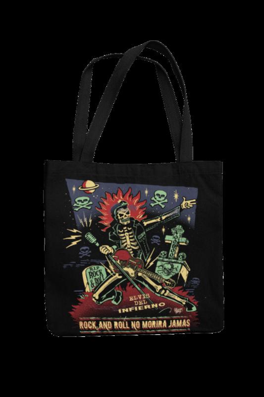 Cotton Bag Rock and roll no morirá jamás design by VINCE RAY