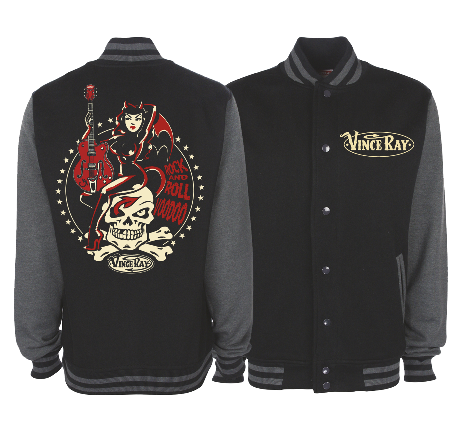 ROCK AND ROLL VOODOO VARSITY JACKET Unisex by VINCE RAY