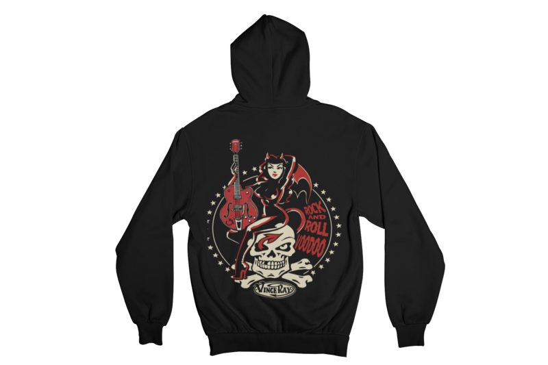 ROCK AND ROLL VOODOO HOODIE ZIP for MEN by VINCE RAY