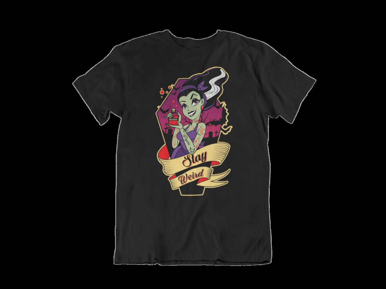 "BETTIE BANG STORE ""Stay Weird bride of  Frankenstein"" tshirt for MEN"