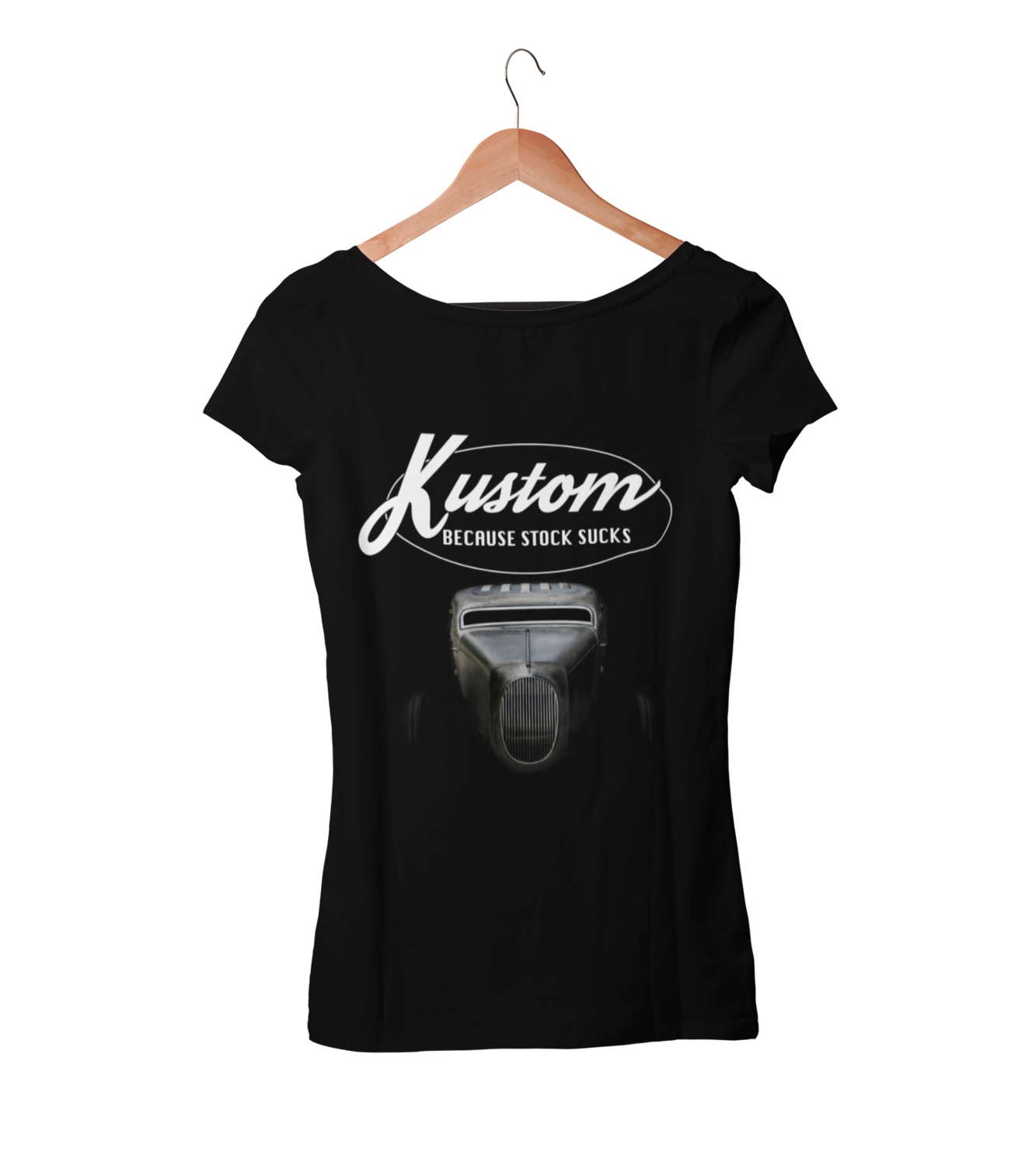 KUSTOM BECAUSE STOCK SUCKS T-SHIRT FOR WOMEN