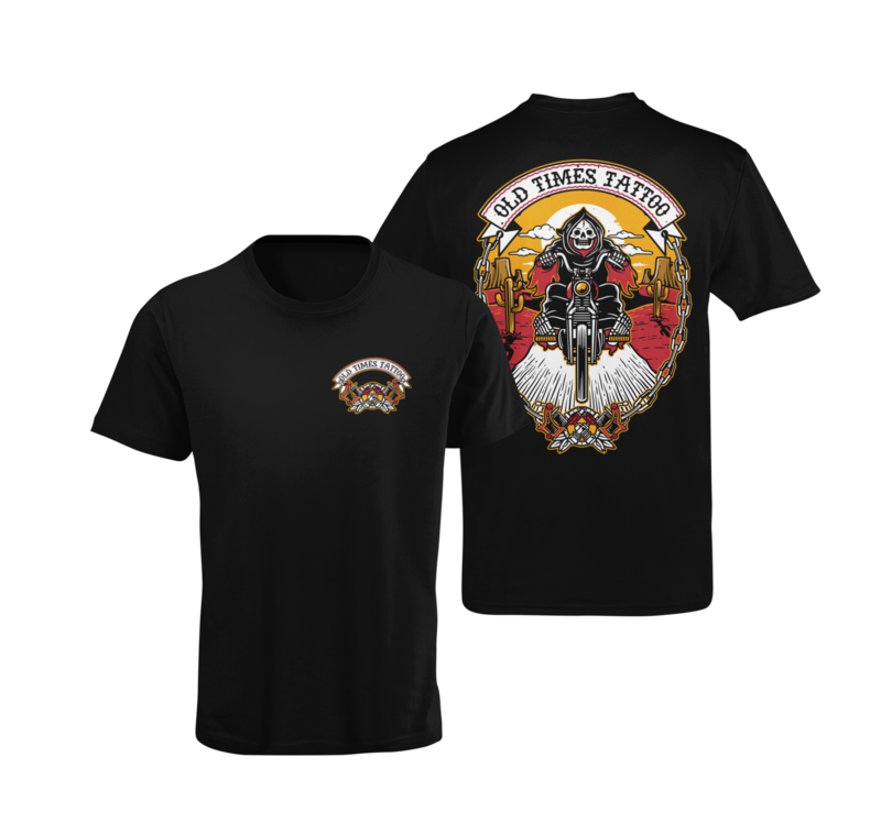 """OLD TIMES TATTOO """"Reaper Rider"""" tshirt for MEN"""