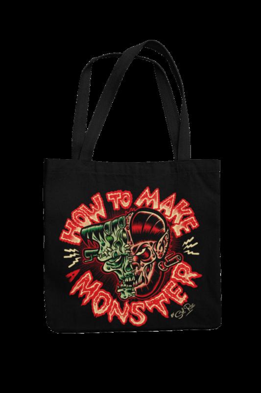 HOW TO MAKE A MONSTER Cotton Bag  logo design SOL RAC