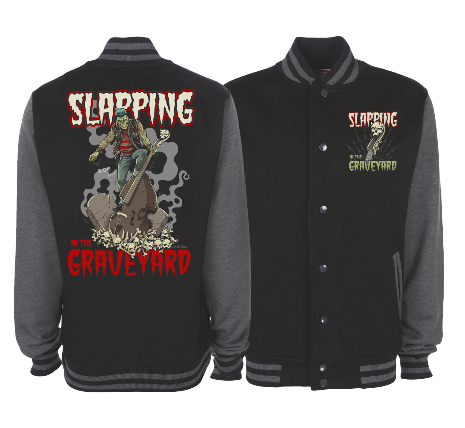 SLAPPING IN THE GRAVEYARD VARSITY JACKET UNISEX BY NANO BARBERO
