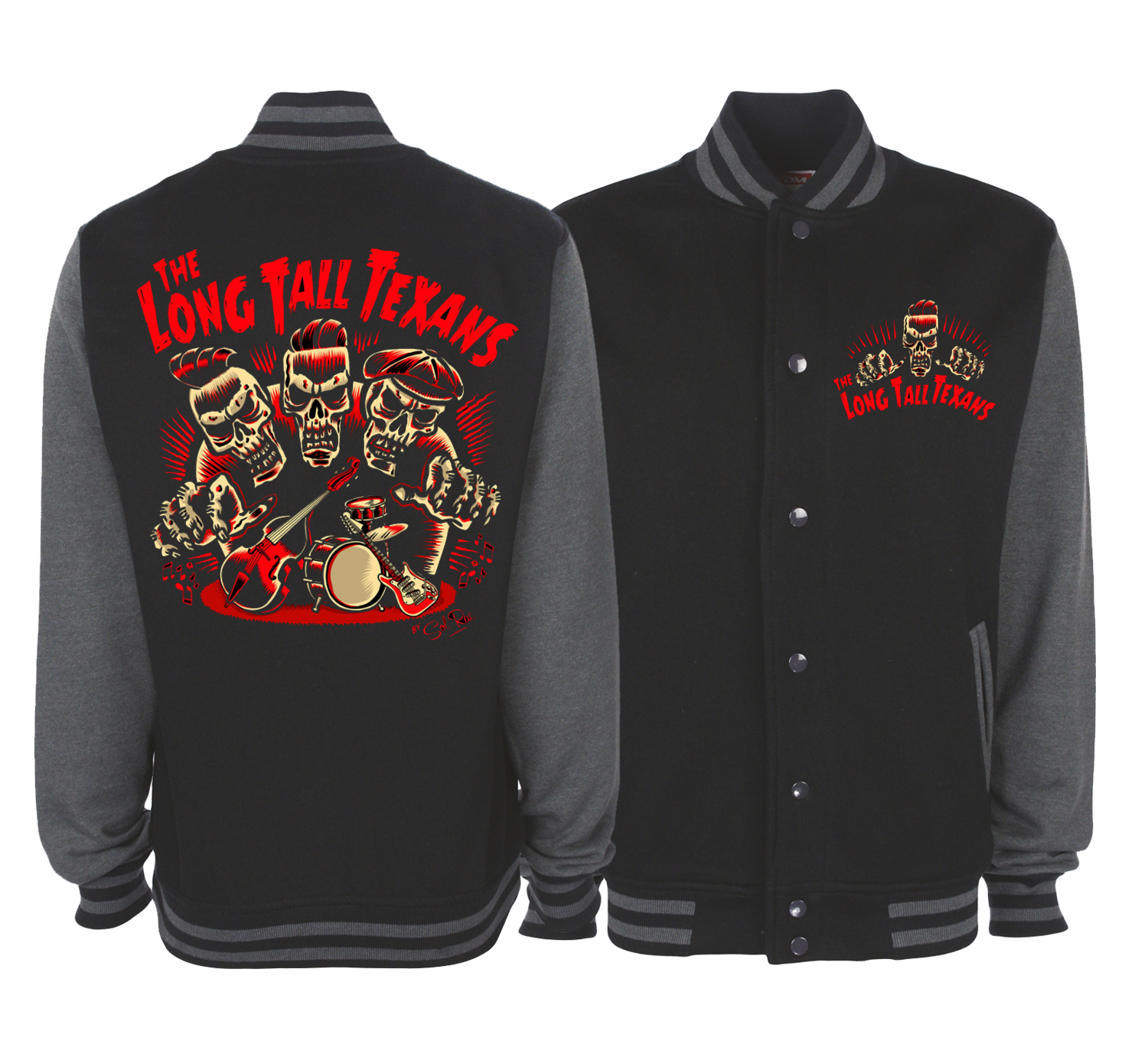 "LONG TALL TEXANS ""3 SKULLS"" VARSITY JACKET UNISEX  by SOL RAC"