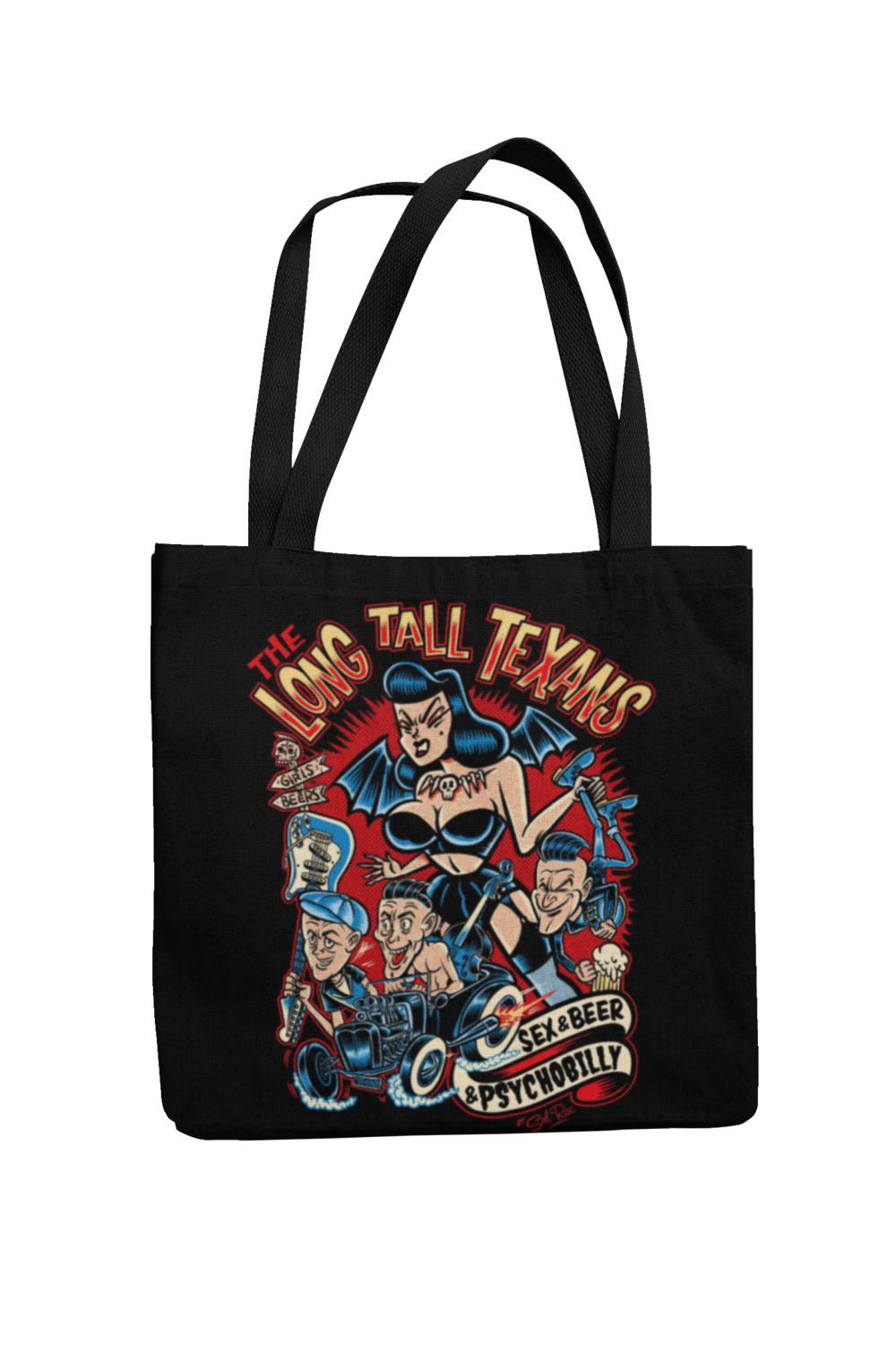 LONG TALL TEXANS Cotton Bag  sex & beer & psychobilly