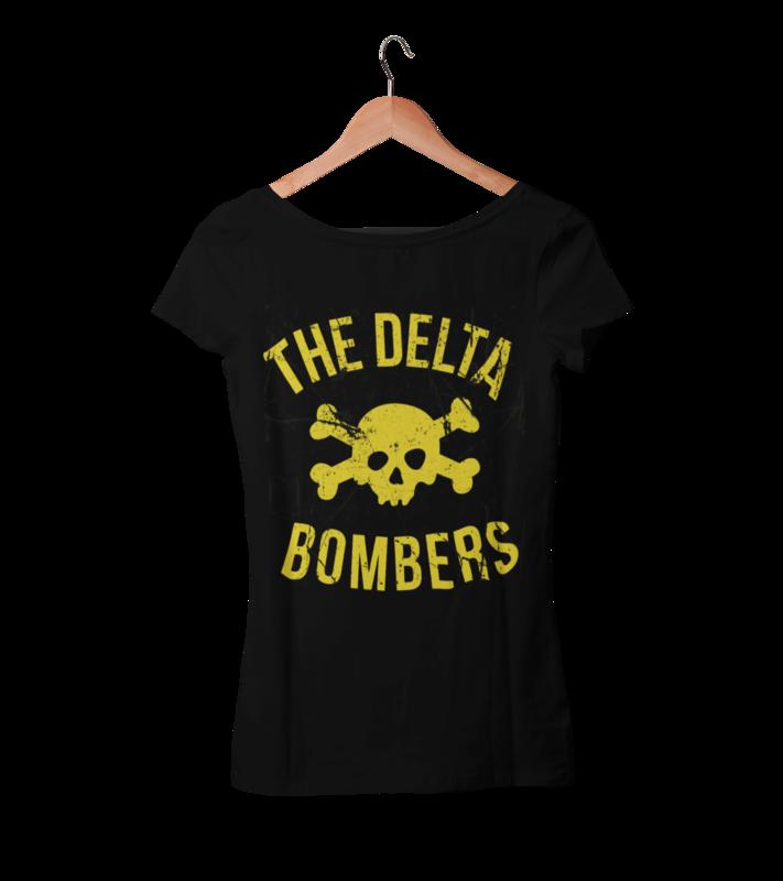"THE DELTA BOMBERS T-SHIRT ""SKULL CLASSIC LOGO ""  WOMEN"