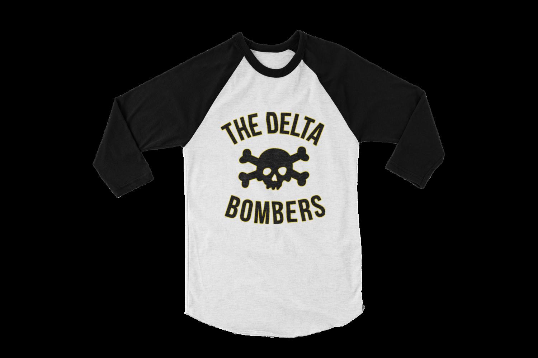 "THE DELTA BOMBERS ""Skull classic logo"" BASEBALL LONG SLEEVE UNISEX"
