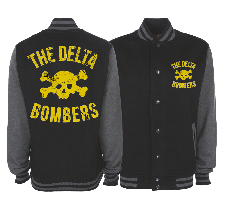 "THE DELTA BOMBERS ""Skull Classic logo"" VARSITY JACKET UNISEX"