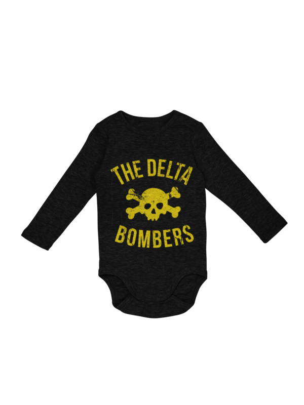 """THE DELTA BOMBERS """"Skull Classic Logo """" BABY ONIESE"""