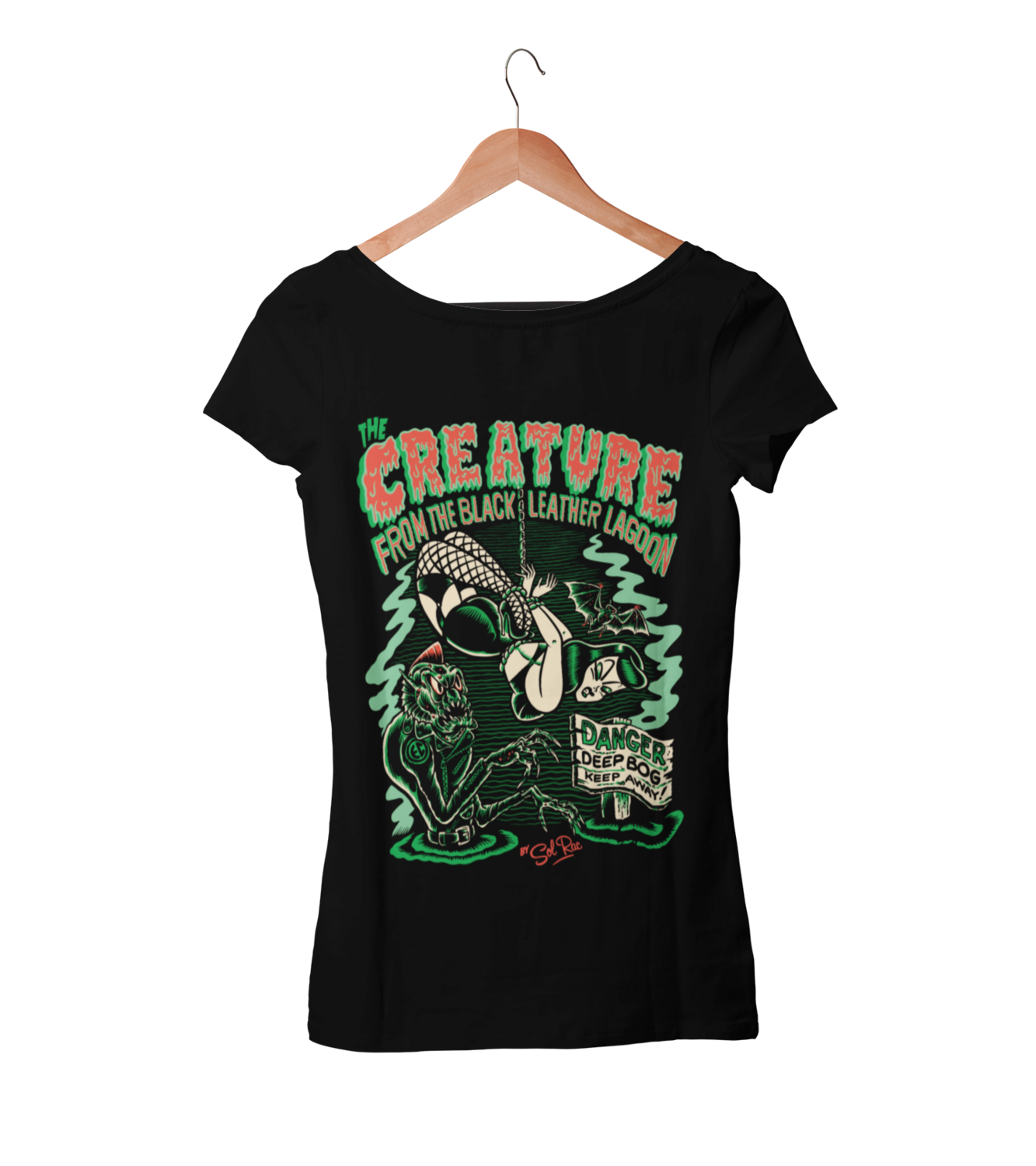 CREATURE FROM BLACK LEATHER T-SHIRT WOMAN BY SOL RAC
