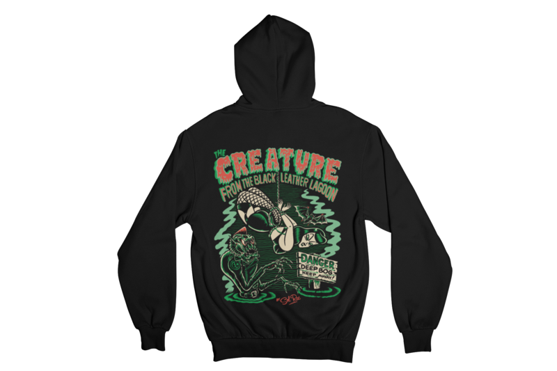 CREATURE FROM BLACK LEATHER HOODIE ZIP for WOMEN by SOL RAC