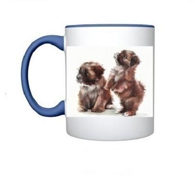 Puppy Mug in Blue & White