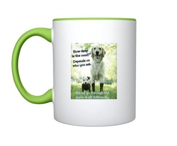 Dog Mug in lime Green & White